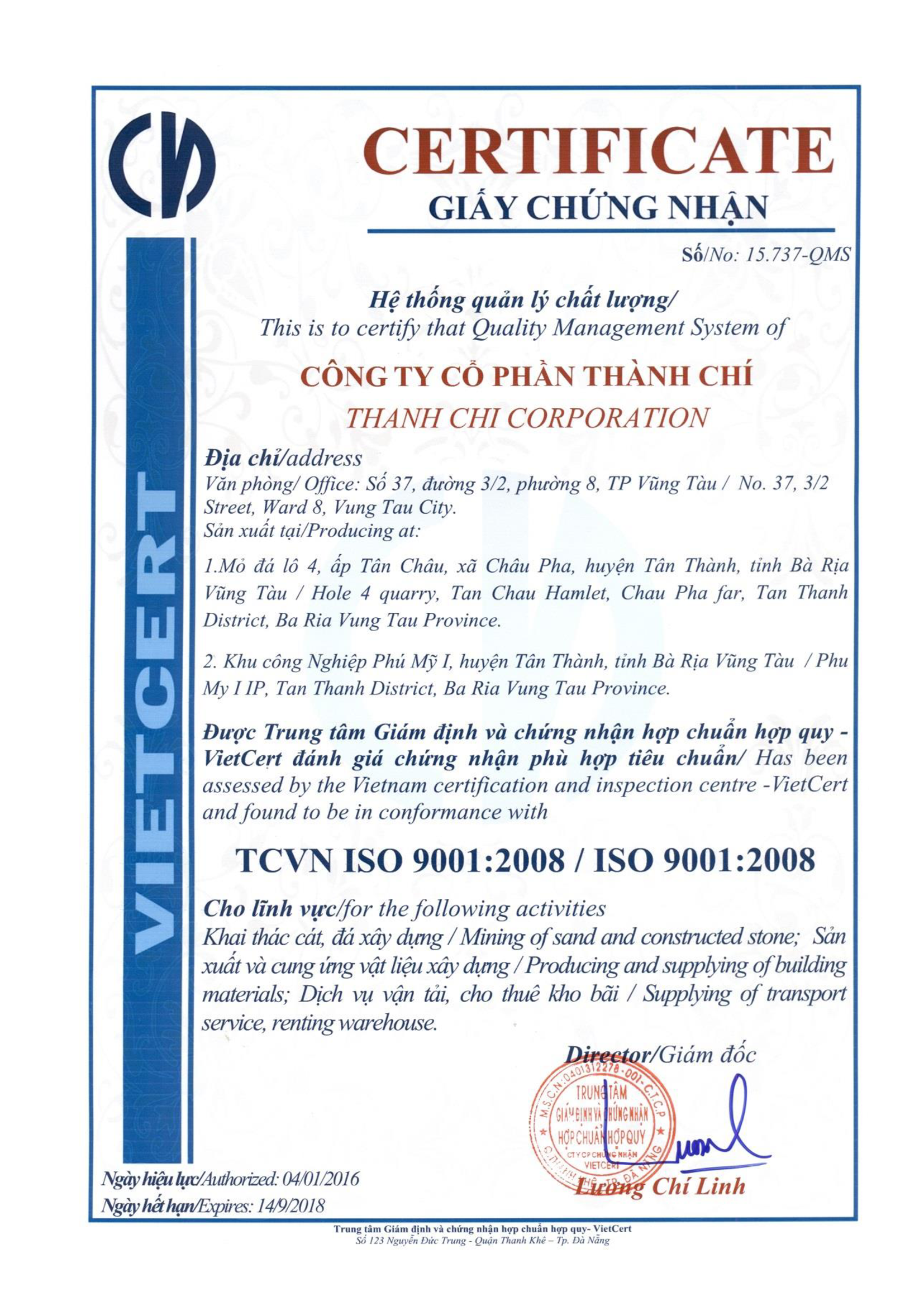 Chứng Chỉ ISO 9001